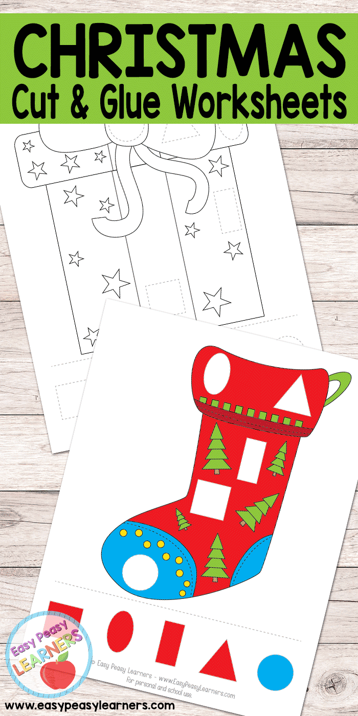 christmas cut and glue worksheets