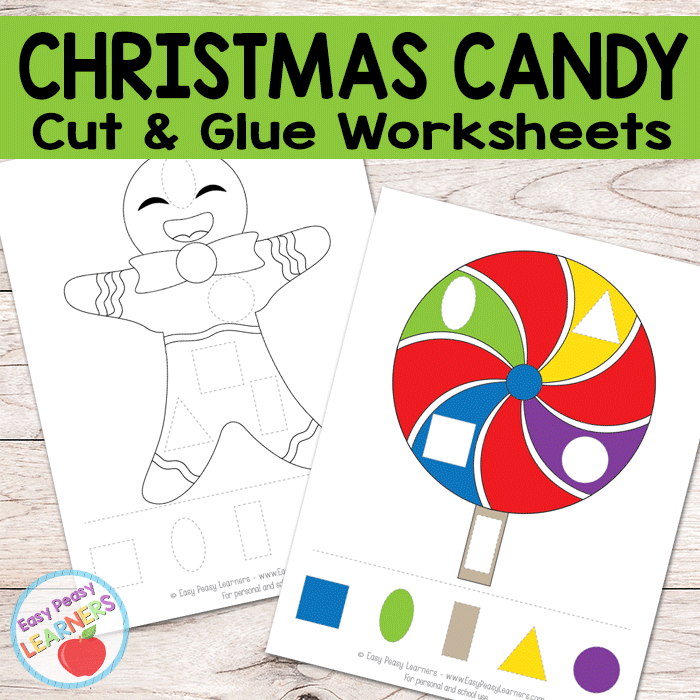Free Christmas Candy Cut and Glue Worksheets