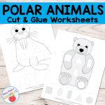 Free Polar Animals Cut and Glue Worksheets
