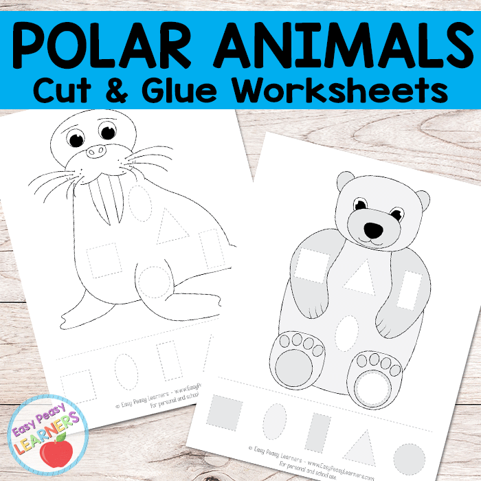 Free Polar Animals Cut and Glue Worksheets