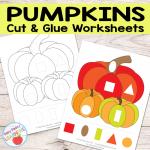 Free Pumpkins Cut and Glue Worksheets