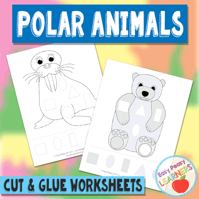 Lovely Polar Animals Cut and Glue Worksheets