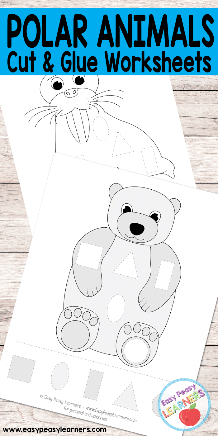 Polar Animals -Cut and Glue Worksheets