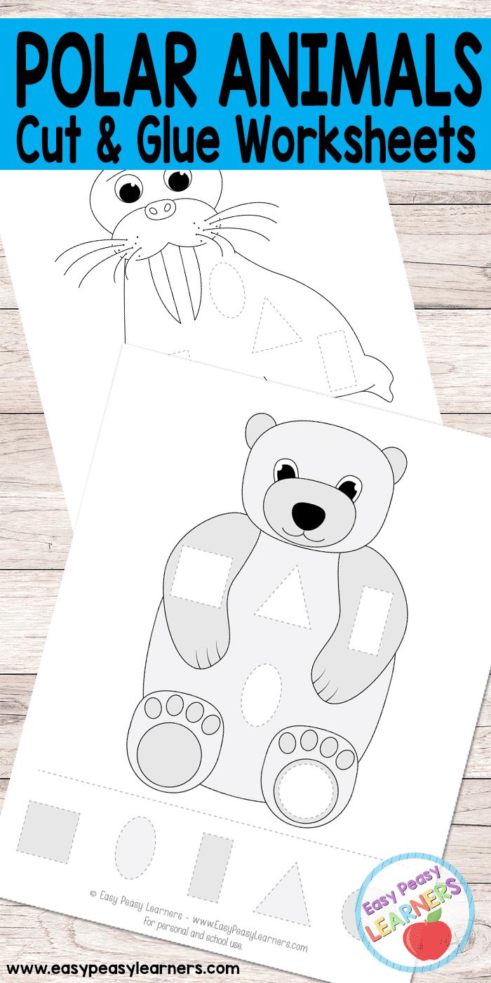 Polar Animals -Cut and Glue Worksheets