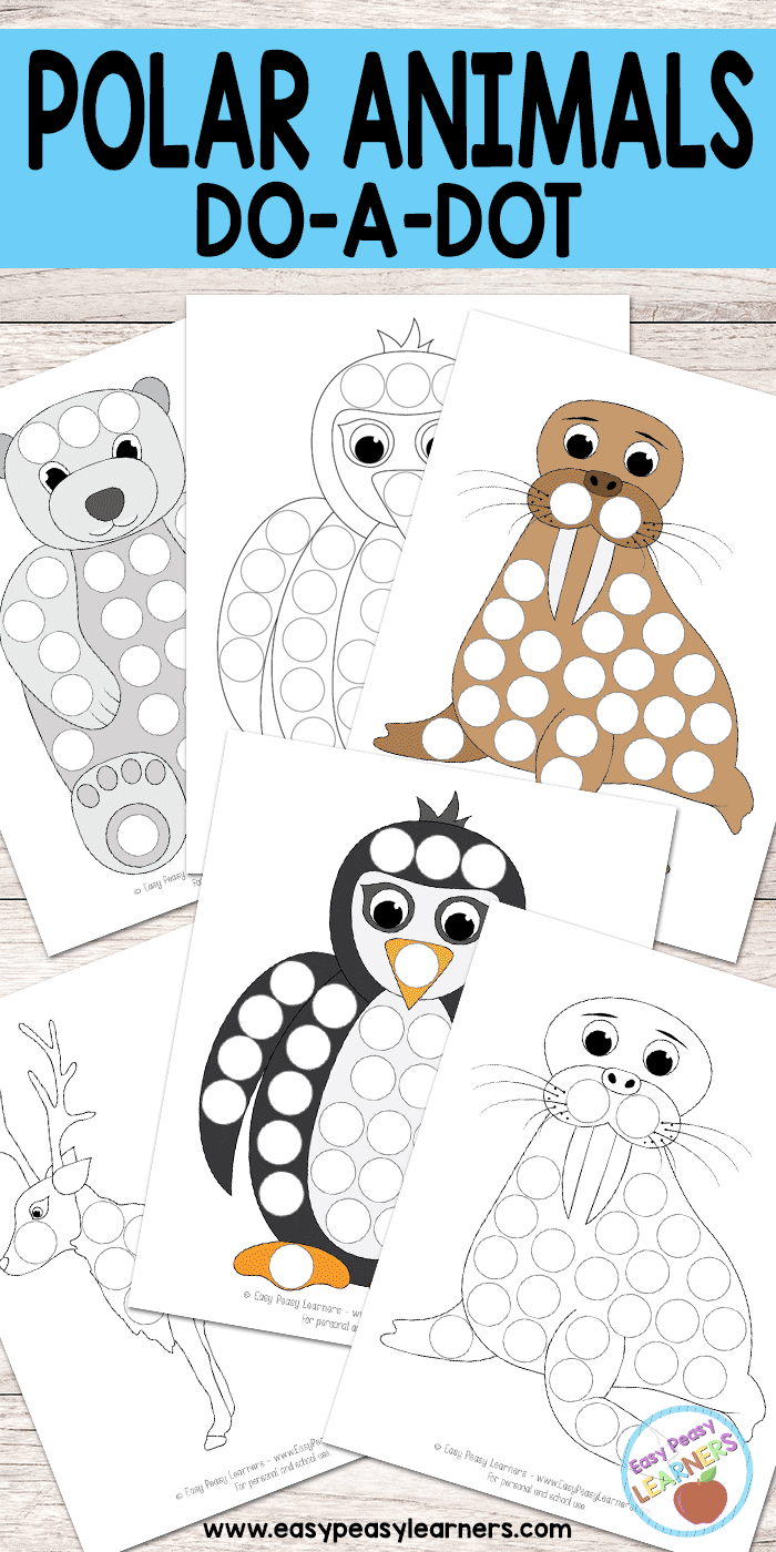 Polar animals do a dot printables