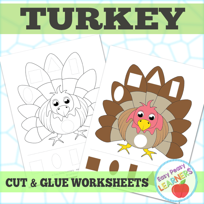 Turkey Cut and Glue Worksheets