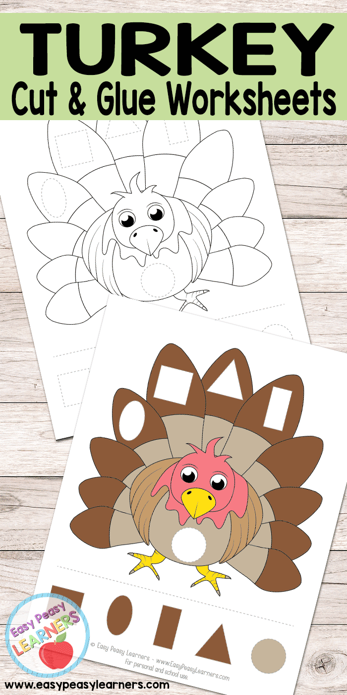 Turkey - Cut and Glue Worksheets
