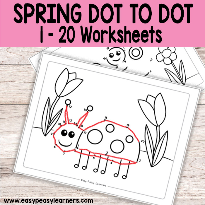 Spring Dot To Dot Numbers To 20 Worksheets Easy Peasy Learners