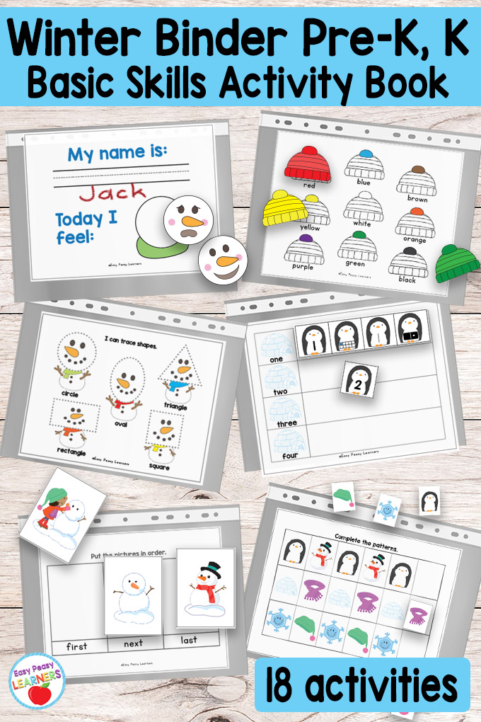 Printable Winter Binder For Preschool And Kindergarten - Easy Peasy Learners