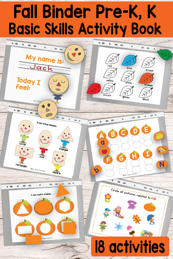 Quiet Book Printable Fall Binder For Preschool And Kindergarten - Easy  Peasy Learners