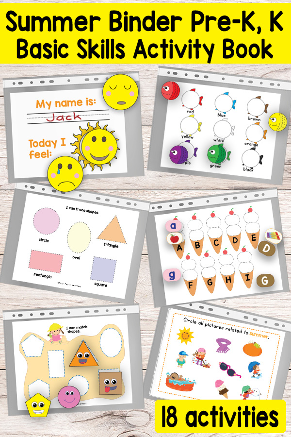 Summer Busy Binder - Activity Book for Preschool and Kindergarten