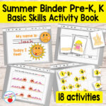 Quiet Book Printable Summer Binder for Preschool and Kindergarten