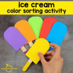 Ice Cream Color Sorting Activity – With Popsicle Sticks