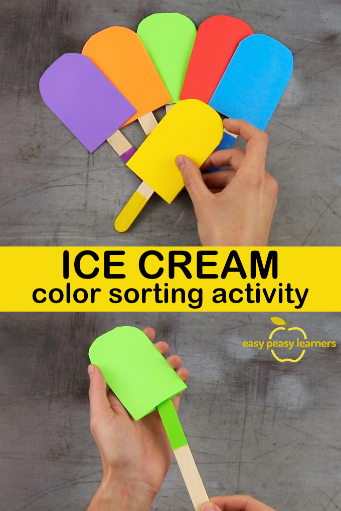Ice Cream Color Sorting Activity With Popsicle Sticks